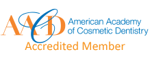 Logo for American Academy of Cosmetic Dentistry Accredited Members, which includes Baton Rouge dentist Dr. Steven Brooksher.
